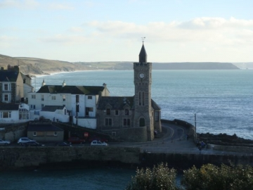 Porthleven clock tower looking towards Loe bar
